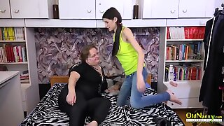 OldNannY teenager and Mature girly-girl frolicking Action