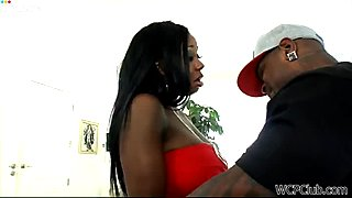 Chesty ebony slut Nikita Blade gives hot blowjob to her lover