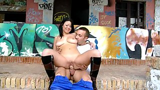 Darling is giving guy a wild oral pleasure outdoor