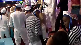 Insatiable sailors rub over tasty bodies of young chics during dance