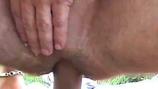 Buff euro amateur barebacked in the outdoors