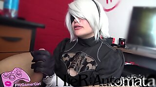 2B cosplay  - blowjob & Facefuck - Nier Automata