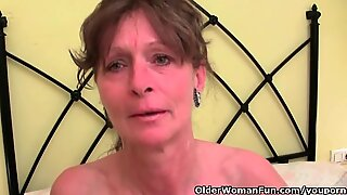 Hairy grandma gets her furry hole fingered
