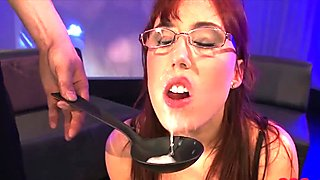 Busty Fiona gets jizz on her glasses
