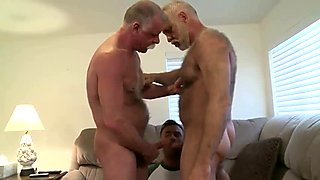 two old dads having fun with junior man