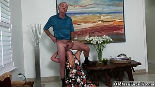 Old grandpa anal and teen xxx Frannkie s a hasty learner!